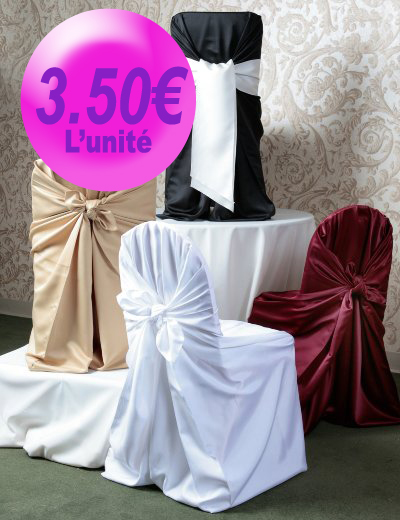 housse de chaise universelle satin blanc lilyfs v nements. Black Bedroom Furniture Sets. Home Design Ideas